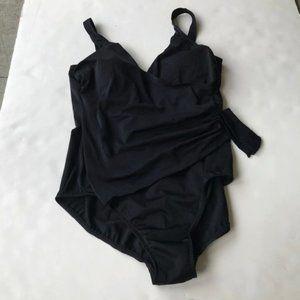 Slimshaper by Miracle Brands Swim - Slimshaper Swimsuit Black Faux Wrap Missy Size 18